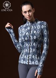 LOVE-YOGA瑜伽长袖衬衫W429 瑜伽上衣 蓝色印花