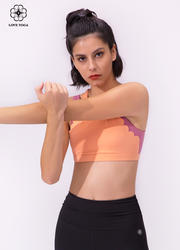 【Y984】雙肩帶前片袖籠燒花設計假兩件運動Bra