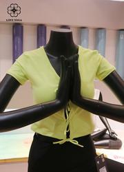 【Y725】新款胸前绑带交叉性感撩人 新绿色