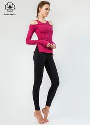 【K963】九分簡約塑身彈性修腿瑜伽褲 黑色
