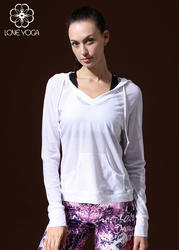 LOVE-YOGA瑜伽长袖 Y349 瑜伽服罩衫 外套 运动衫 白色