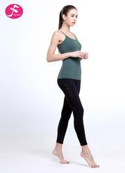 J1110套裝交叉美背設計松綠色搭配黑色褲子