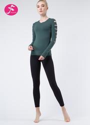 J1082 绿色+黑色 时尚破洞套装
