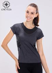 特价     瑜伽短袖 Y347 S/现货  瑜伽上衣麻灰拼黑色