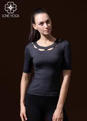瑜伽中袖T恤  鏤空領口麻灰Y358 S現貨