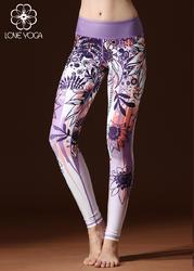 瑜伽印花裤 紫白H5220S现货