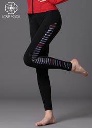 LOVE-YOGA瑜伽秋冬 K750 瑜伽服修身束腿锦纶裤子 黑色拼条纹