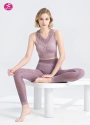 【J1266】夏日治愈系瑜伽套装 花斑紫+花斑紫