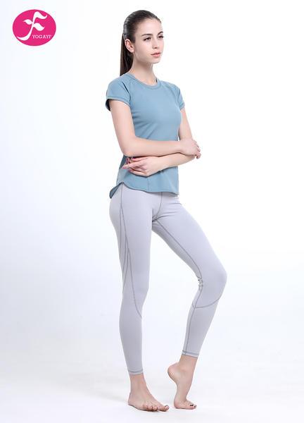 J1092套裝經典T恤套裝水藍色搭配淺灰色優雅優美