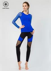 【Y833】網紗拼接袖子簡潔時尚大方 寶藍