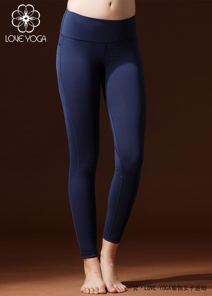 LOVE-YOGA瑜伽秋冬长裤 K837 瑜伽服修身束腿锦纶 蓝色