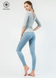 【K964】LOVEYOGA新款九分简约塑身弹性修腿瑜伽裤 海蓝色