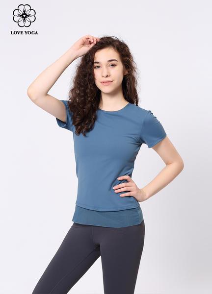 【Y896】夏季新品时尚优雅网纱拼接短袖上衣