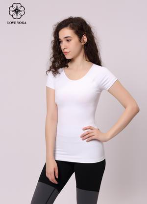 【Y862】經典圓領短袖彈力時尚百搭白色