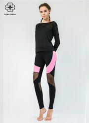 【Y779】衛衣點型網紗拼接透氣排汗 黑色