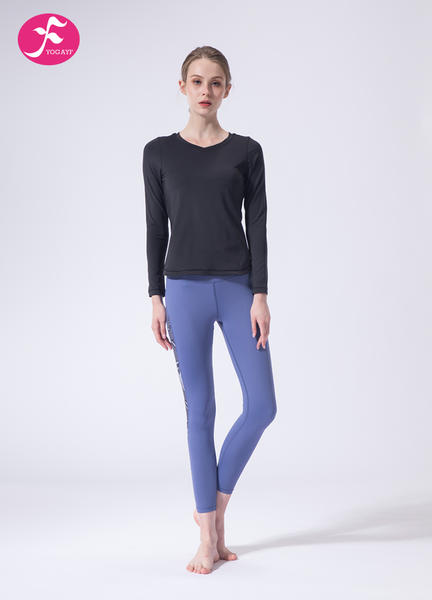 【J1137】一梵秋冬新款时尚暗纹露背拼接提臀瑜伽套装
