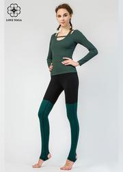 【K956】時尚撞色條紋踩腳瑜伽褲 黑色+黑綠紋