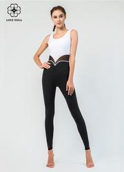 【L111】空中瑜伽服連體黑白撞色網紗拼接透氣排汗