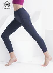 【K1069】螺紋面料拼接九分褲 暗藍