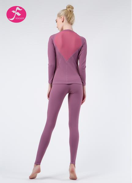 【秋冬新款】J1076 紫色 后背V型透视套装