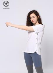 【Y851】夏季新品純棉圓領短袖運動訓練罩衫