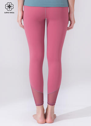 【K1044】立體分割設計褲腳側邊網紗植入運動九分褲