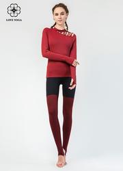 【K957】LOVEYOGA新款时尚撞色条纹踩脚瑜伽裤 黑色+红黑纹