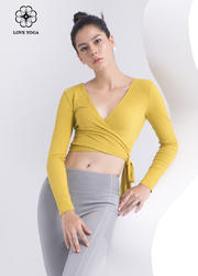 【Y995】創意兩穿開衫長袖 芥末黃